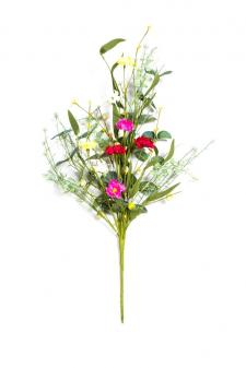 MIXED FLOWER BOUQUET WITH GREENS, 24 IN, MAGENTA, RED, YELLO