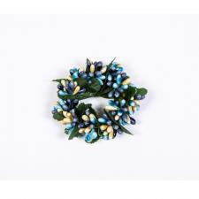 SMALL RICE BERRY CANDLE RING, 3IN DIA (1.5IN RIM), HW, BLUE,