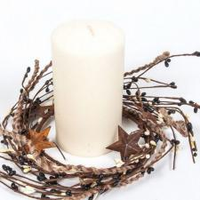 4.5 IN TWINE/RUST STAR/RICE BERRY CANDLE RING, HW, BLACK-CRE