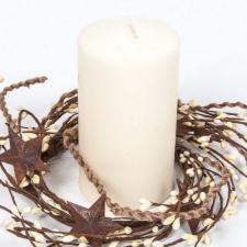 4.5 IN TWINE/RUST STAR/RICE BERRY CANDLE RING, HW, CREAM