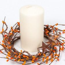 4.5 IN TWINE/RUST STAR/RICE BERRY CANDLE RING, HW, ORANGE