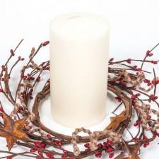 4.5 IN TWINE/RUST STAR/RICE BERRY CANDLE RING, HW, RED