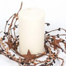 3.5 IN TWINE/RUST STAR/RICE BERRY CANDLE RING, HW, BLACK, TA