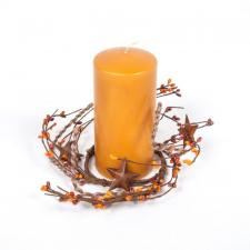 3.5 IN TWINE/RUST STAR/RICE BERRY CANDLE RING, HW, SUNSET OR