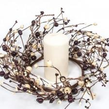 MIXED BERRY CANDLE RING W/LARGE BERRIES AND TWINE, 6.5 IN DI