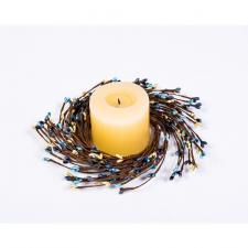 RICE BERRY CANDLE RING 7.5IN DIA (3.4IN RIM), HW, BLUE, CHAR