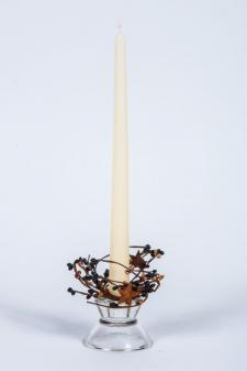 1.5 IN CANDLE RING WITH 2 STARS; 115 BERRIES; BLACK, TAN