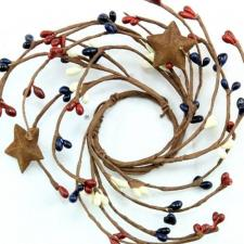 1.5 IN CANDLE RING WITH 2 STARS; 115 BERRIES; RED-NAVY BLUE-