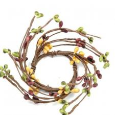 1.5 IN CANDLE RING; 115 BERRIES; GREEN/BURGUNDY/MULTI
