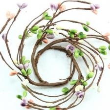 1.5 IN CANDLE RING; 115 BERRIES; GREEN-CREAM-PURPLE-MIXED