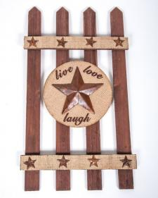 WOOD FENCE WITH BURLAP AND STARS, 21 IN H X 12 IN W