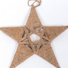 LARGE TWINE STAR, 15 IN H X 15.5 IN W