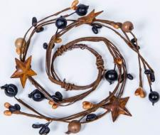 1.5 IN MIXED BERRY CANDLE RING WITH STARS;  BLACK, TAN
