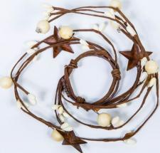 1.5 IN MIXED BERRY CANDLE RING WITH STARS; CREAM