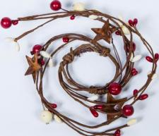 1.5 IN MIXED BERRY CANDLE RING WITH STARS; RED, CREAM