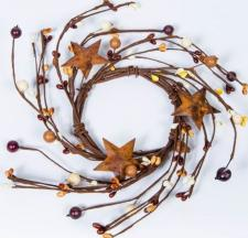 3.5 IN MIXED BERRY CANDLE RING WITH STARS; BROWN MIX