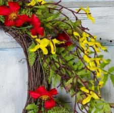 FORSYTHIA  AND FLOWER WREATH ON TWIG BASE, 10 IN. DIA. RIM,