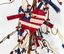 AMERICANA GARLAND W/BURLAP FLAG, HEART, STAR AND RICE BERRIE