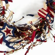 AMERICANA TWIG WREATH W/BURLAP FLAG, HEART, STAR AND RICE BE
