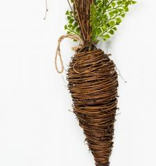 LARGE TWIG CARROT WITH GREENERY; 21 IN