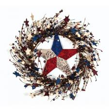 AMERICANA MIXED BERRY AND STAR WREATH WITH TIN STAR, BURGUnD