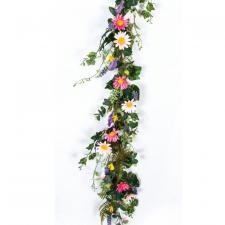 DAISY WITH MIXED FLOWER AND LEAVES GARLAND, 5 FEET, PINK MIX