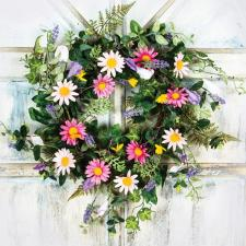 DAISY WITH MIXED FLOWER AND LEAVES WREATH ON A TWIG BASE, 10