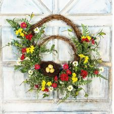DOUBLE TWIG WREATHS W/BIRD NEST, EGGS, PLASTIC GREENERY, AND