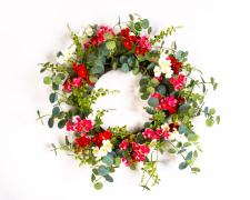 CREAM PINK MIXED GERAMIUM WREATH WITH GREENERY ON A TWIG BAS