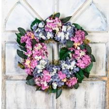 HYDRANGEA WREATH ON A TWIG BASE, SLATE BLUE, MAUVE, MIX, 10