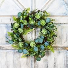 SUCCULENT/GREENERY WREATH ON A TWIG BASE, 10 IN RIM, 20 IN D