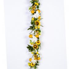 SUNFLOWER LEMON GARLAND WITH HYDRANGEA, 60 IN