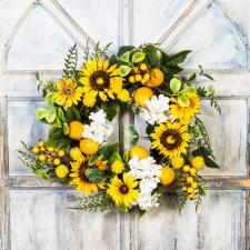 SUNFLOWER LEMON WREATH WITH HYDRANGEA ON A TWIG BASE, 11 IN
