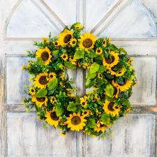 SUNFLOWER WREATH ON A TWIG BASE, 11 IN RIM, 20 IN DIA