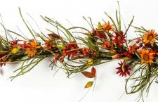 FALL FLOWER, LEAF AND BERRY GARLAND WITH FRONS, RED, ORANGE