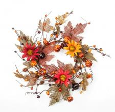 6.5 IN. BURLAP LEAF CANDLE RING WITH PUMPKINS, BERRIES, PINE