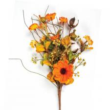 FALL BOUQUET WITH COTTON, FLOWERS & MIXED LEAVES, 18 IN