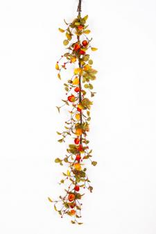 AUTUMN GARLAND WITH CHINESE LANTERNS AND BERRIES, 58 IN, ORA