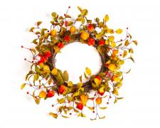 AUTUMN WREATH WITH CHINESE LANTERNS AND BERRIES ON A TWIG BA
