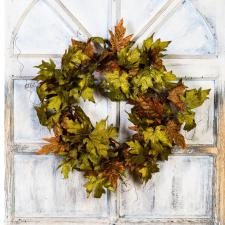MAPLE LEAF WREATH, 12 IN RIM, 24 IN DIA
