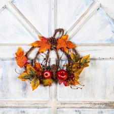 PUMPKIN SHAPE TWIG WREATH WITH FRUITS, CONES, BERRIES & LEAV