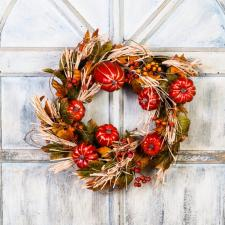 HARVEST WREATH WITH PUMPKINS, STRAW, BERRIES ON A TWIG BASE,