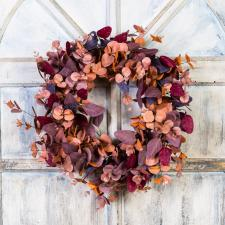 EUCALYPTUS WREATH WITH MIXED LEAVES ON A TWIG BASE, FALL, 10