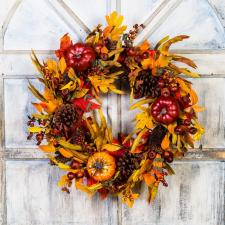 MIXED FALL WREATH WITH PUMPKINS, CONES, PODS, BERRIES ON A T