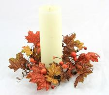 4.5 IN MAPLE LEAVE CANDLE RING W/ACORNS AND MIXED BERRIES IN