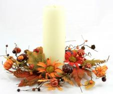 4.5 IN BURNT RED AND ORANGE DAISIES CANDLE RING W/PUMPKINS,