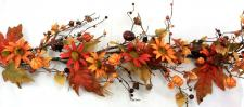 BURNT RED AND ORANGE DAISIES GARLAND W/PUMPKINS, MIXED LEAVE