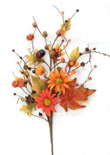 BURNT RED AND ORANGE DAISIES SPRAY W/PUMPKINS, MIXED LEAVES,