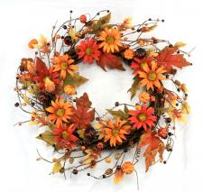 BURNT RED AND ORANGE DAISIES WREATH ON TWIG BASE W/PUMPKINS,