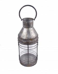 METAL/GLASS LANTERN, 6.5 IN X 6.5 IN X 15 IN H (19 IN H)